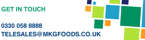 MKG Foods website header with contact information - 0330 058 8888 or telesales@mkgfoods.co.uk