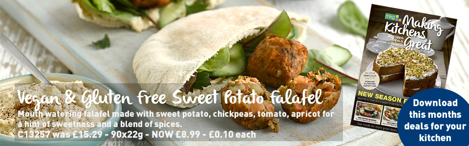 Vegan and Gluten Free Sweet Potato Falafel on special offer this October 2018 in the new promotional leaflet from MKG, your foodservice partner in the Midlands.