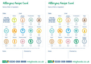 A recipe card sheet for chefs to record visually the allergens present in a recipe / meal. A4 sized with two a5 cards per sheet.