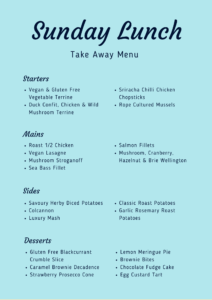 Sample Sunday Lunch Take Away Menu