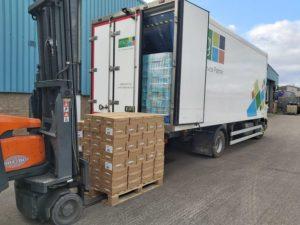 mkg truck with forklift loading pallet
