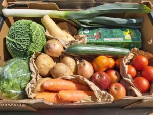 Large fresh produce box with fruit, vegetables and eggs. Available for home delivery with MKG Foods.